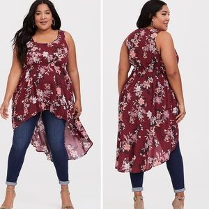 TORRID Sleeveless Hi-Low Floral Print Top 3X